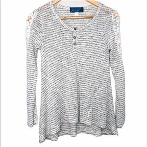 Blue Rain Sweater Henley with Lace Sleeves